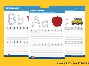 Alphabet A, B, C, D & E Writing Practice Worksheets