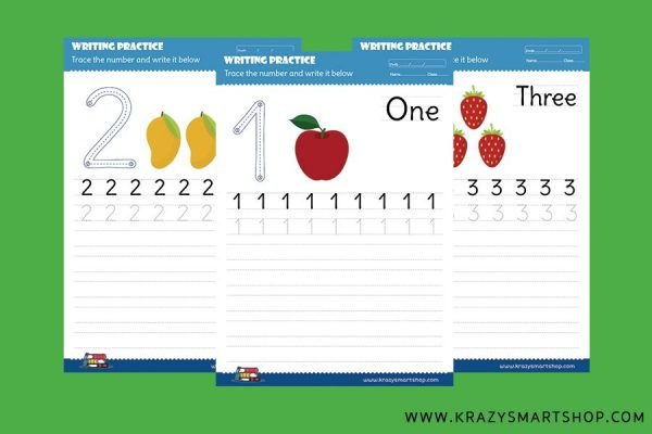 Learn 1 to 5 Numbers To Write and Read PracticeSheet