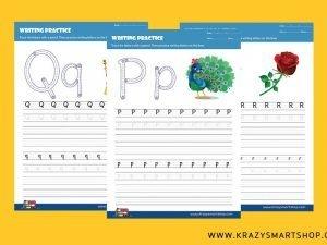 Alphabet P, Q, R, S & T Writing Practice Worksheets