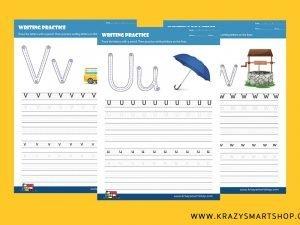 Alphabet U, V, W, X, Y & Z Writing Practice Worksheets